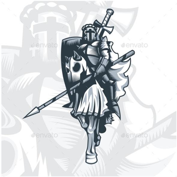 Monochrome Knight on Horse - Miscellaneous Vectors
