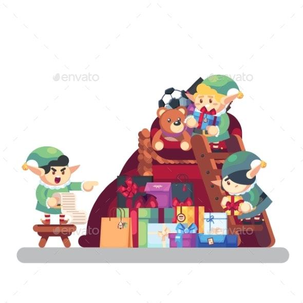Elf Carrying Present Into Bag with Gifts - Christmas Seasons/Holidays