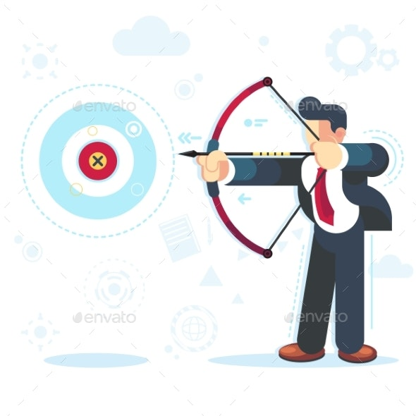 Flat Vector Businessman Aiming Target Concept - Concepts Business