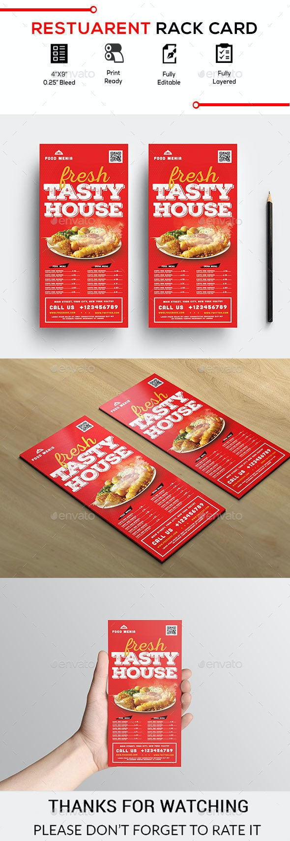 Restaurant Rack Card - Restaurant Flyers