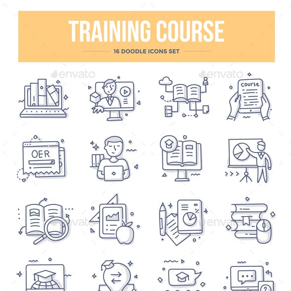Training Course Doodle Icons