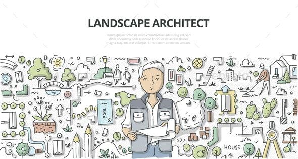 Landscape Architect Doodle Concept - Miscellaneous Vectors