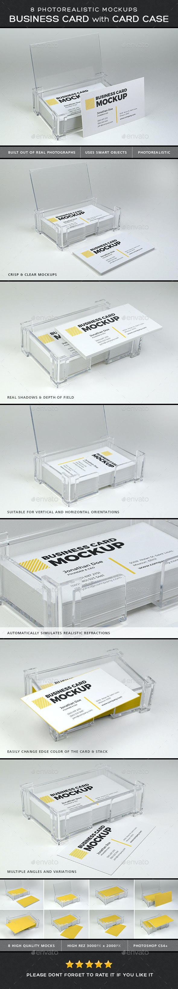 Photorealistic Business Card Mock-ups with Card Case - Product Mock-Ups Graphics
