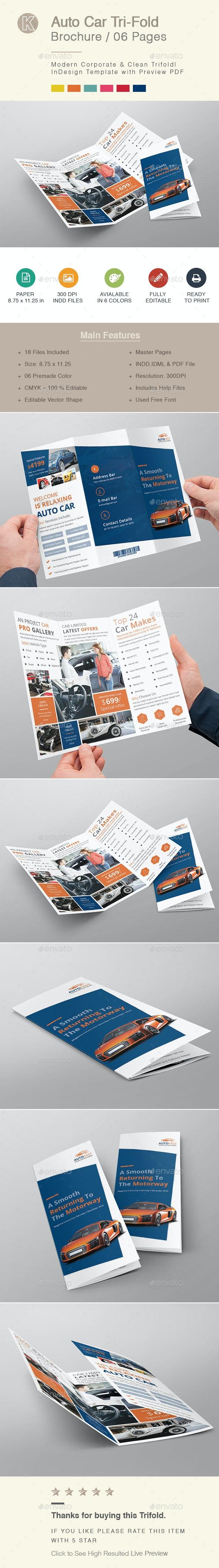 Auto Car Tri-fold Brochure - Corporate Brochures