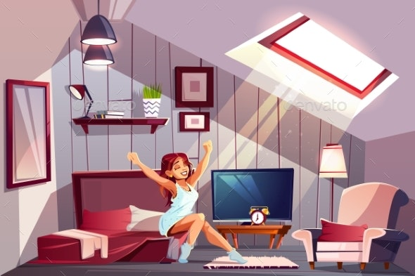 Woman Waking Up in Attic Bedroom Vector - People Characters