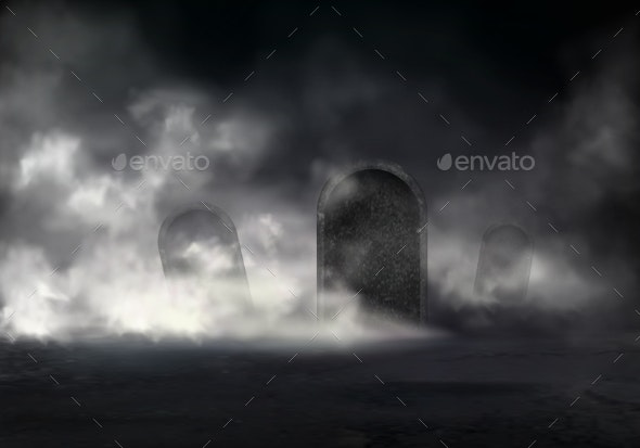 Horror Scene on Old Cemetery Realistic Vector - Backgrounds Decorative