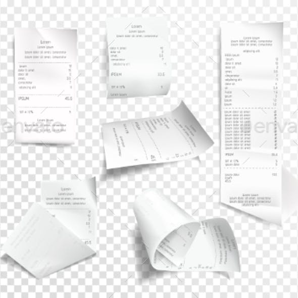 Vector Realistic Receipt Collection