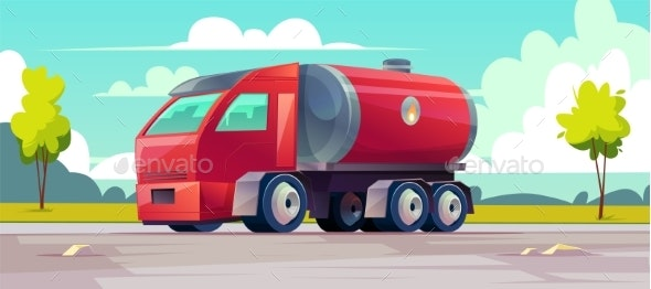 Vector Red Truck with Gasoline in Tank - Backgrounds Decorative