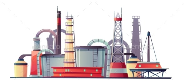 Vector Fuel Industry Refinery Plant Oil Station - Industries Business
