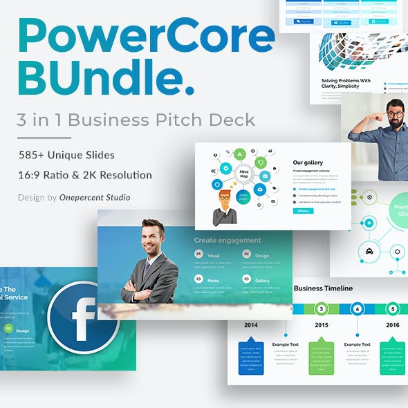 PowerCore 3 in 1 Pitch Deck Bundle Keynote Template