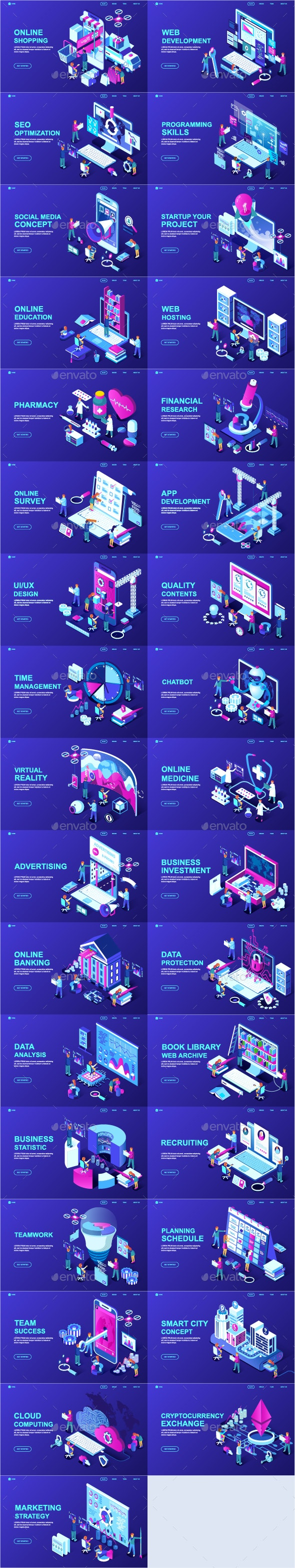 Isometric Landing Page Template - Web Elements Vectors