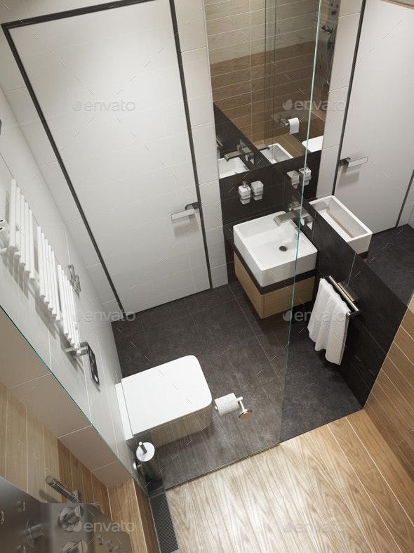 Modern Bathroom Interior, 3D Rendering - Architecture 3D Renders