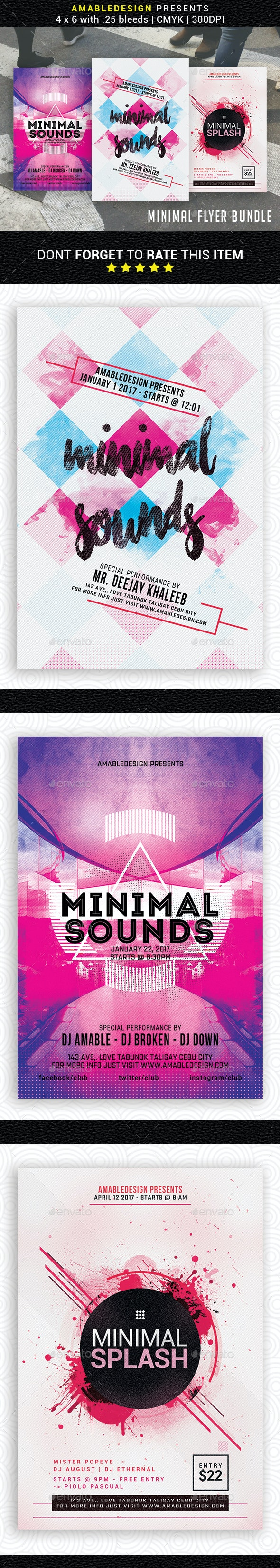 3 in 1 Minimal Flyer/Poster Bundle - Events Flyers