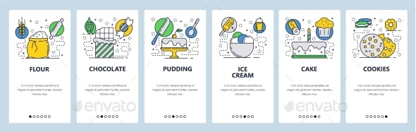Web Site Onboarding Screens - Food Objects