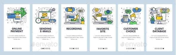 Web Site Onboarding Screens - Web Elements Vectors
