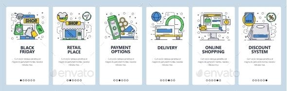 Web Site Onboarding Screens Online Shopping - Web Elements Vectors