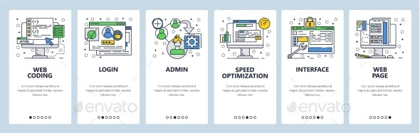 Web Site Onboarding Screens Coding Interface - Web Elements Vectors