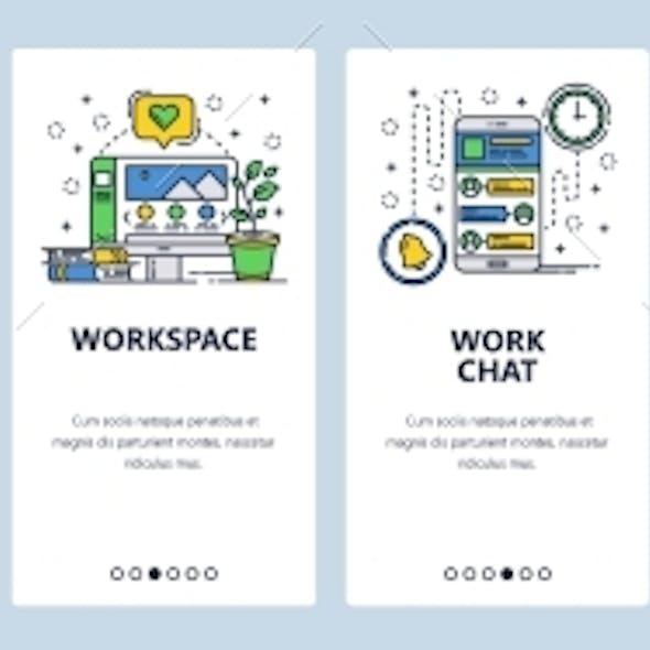 Web Site Onboarding Screens Office Workplace
