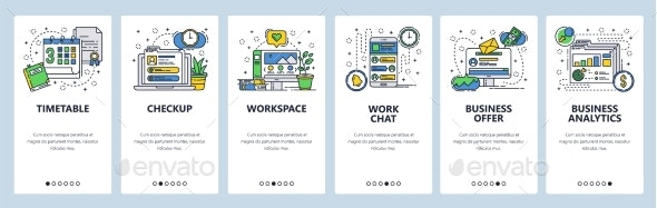 Web Site Onboarding Screens Office Workplace - Web Elements Vectors