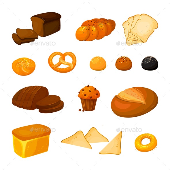 Vector Bread Set - Food Objects