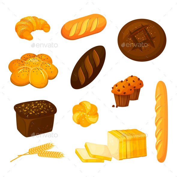 Vector Set of Bread and Pastry - Food Objects