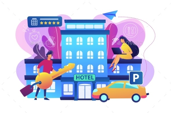 All-inclusive Hotel Concept Vector Illustration. - Buildings Objects