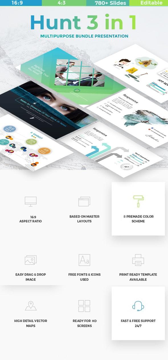 Hunt 3 in 1 - Bundle Business & Creative Powerpoint Template - Business PowerPoint Templates