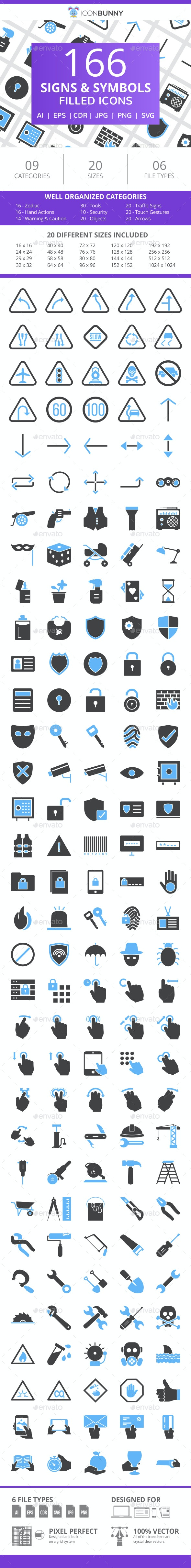 166 Signs & Symbols Filled Blue & Black Icons - Icons