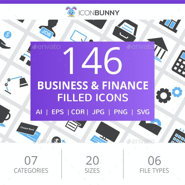 146 Business & Finance Filled Blue & Black Icons