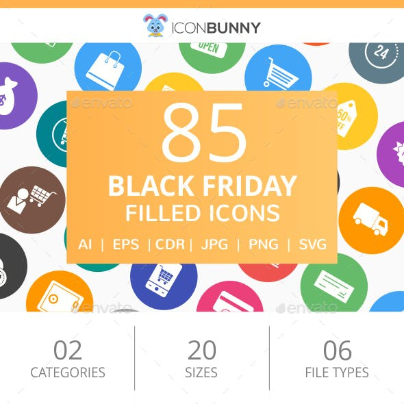85 Black Friday Filled Round Icons