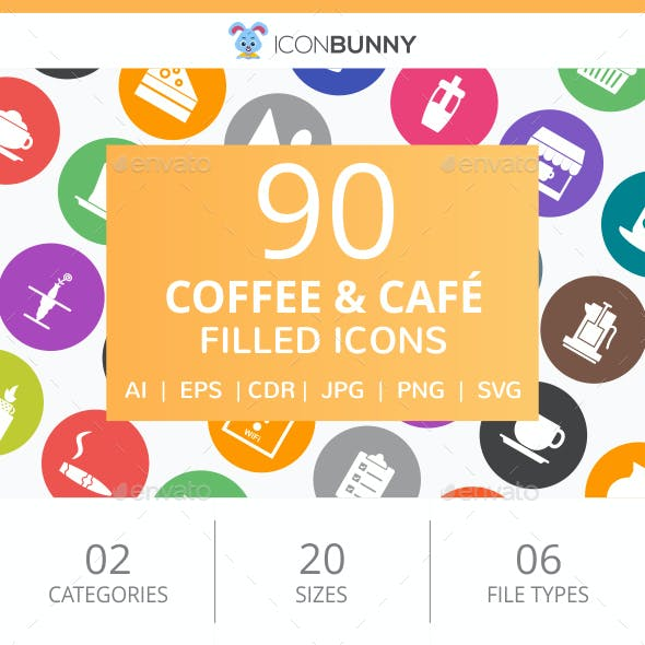 90 Coffee & Cafe Filled Round Icons