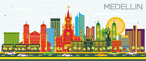 Medellin Colombia City Skyline with Color Buildings - Buildings Objects