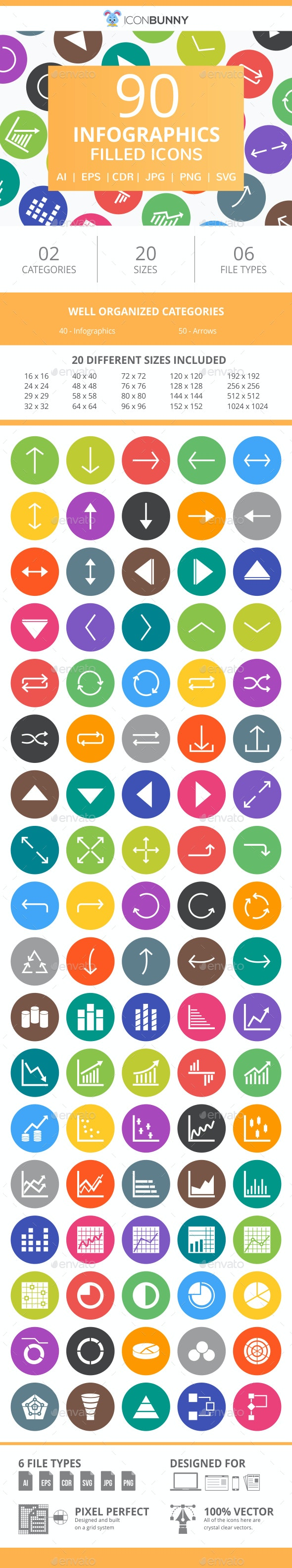 90 Infographics Filled Round Icons - Icons