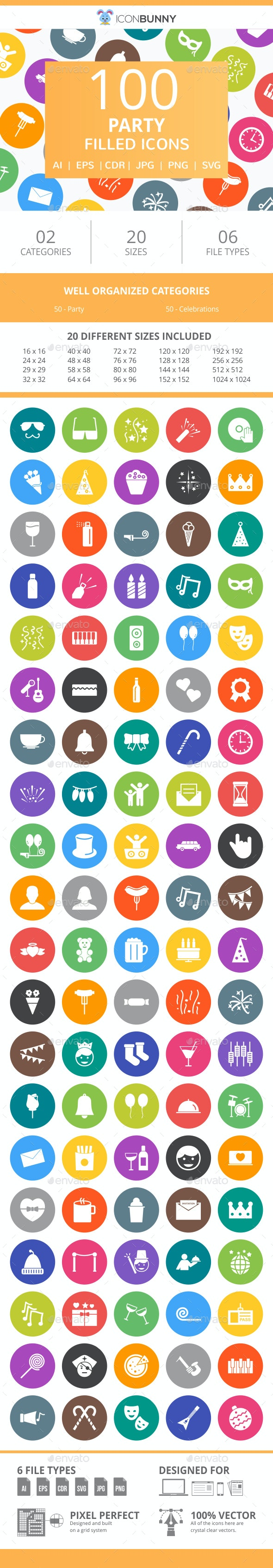 100 Party Filled Round Icons - Icons