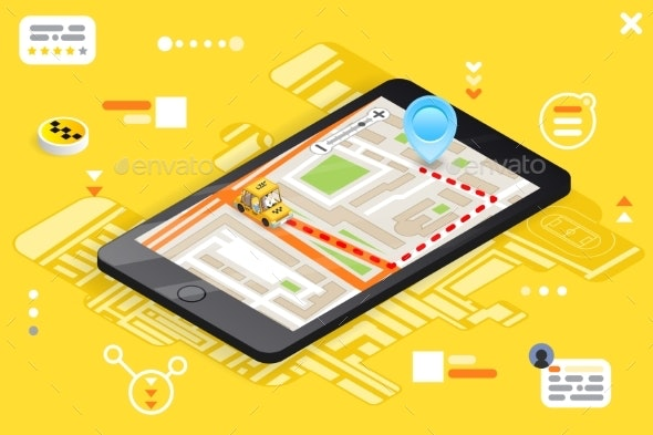 Taxi Phone Call Isometric City Street Road Map - Communications Technology