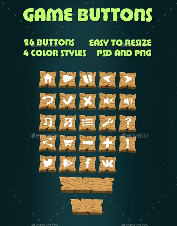 Wooden Game Buttons - Miscellaneous Game Assets