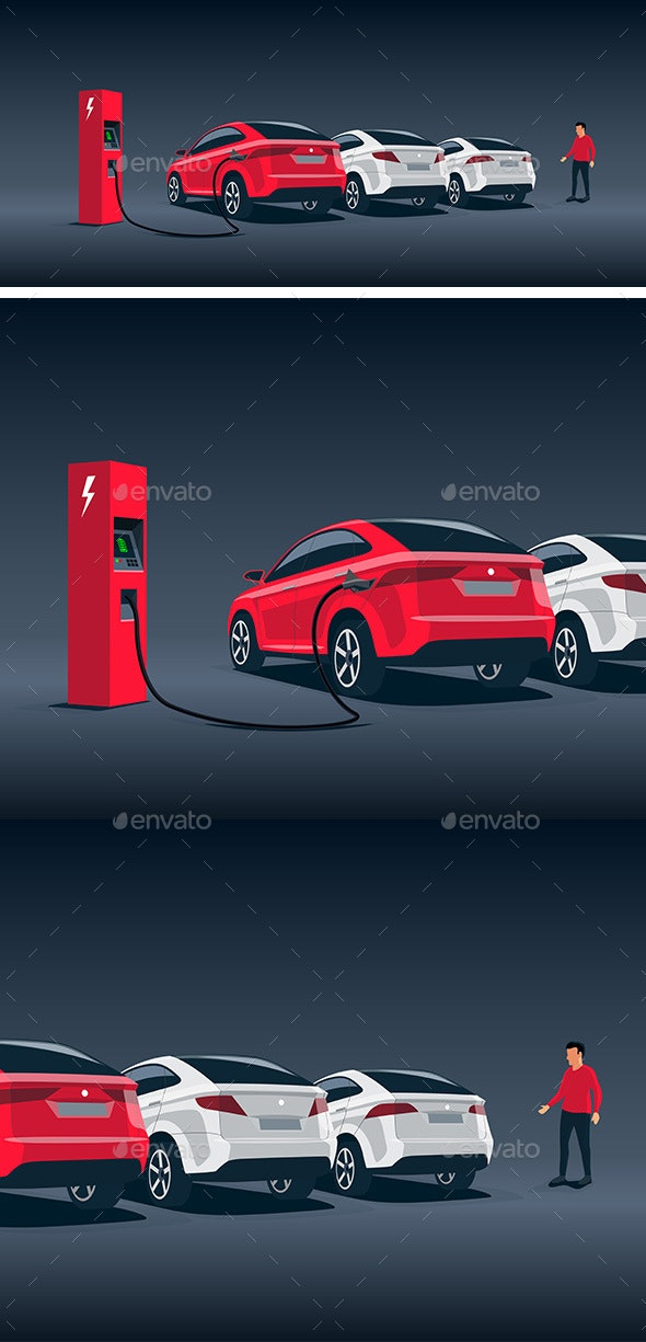 Electric Car SUV Night Charging at Station - Industries Business