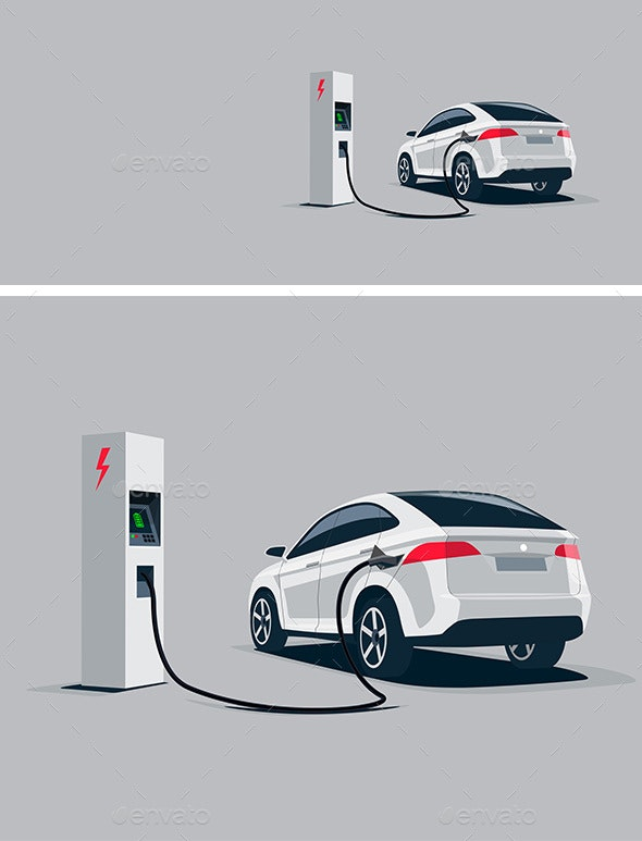 White Electric Car Suv Charging at the Charger Station - Technology Conceptual
