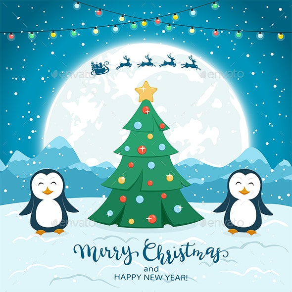 Christmas Tree with Happy Penguins and Santa - Christmas Seasons/Holidays