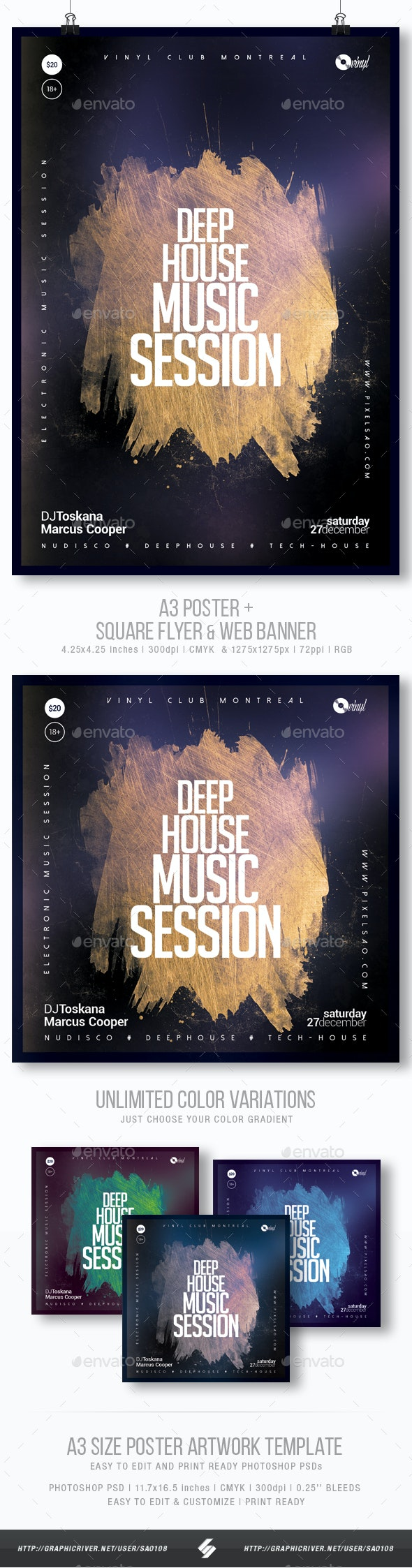 Deep House Session 4 - Party Flyer / Poster Template A3 - Clubs & Parties Events