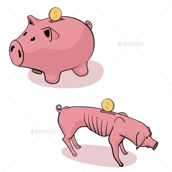 Full and Empty Piggy Bank - Concepts Business