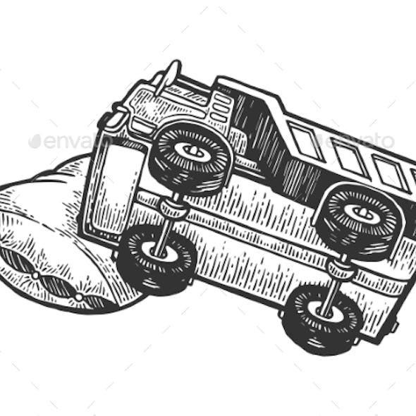 Sleeping Truck Lorry on Pillow Engraving Vector