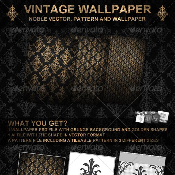 Golden Vintage Wallpaper and Vector