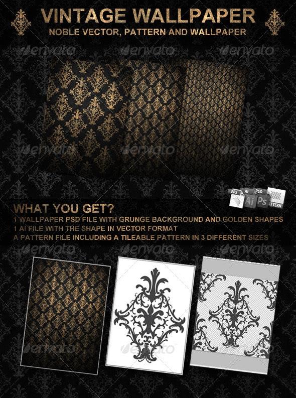 Golden Vintage Wallpaper and Vector - Backgrounds Graphics