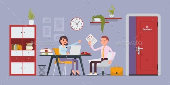 HR Department Interview, Talking with Job - Business Conceptual