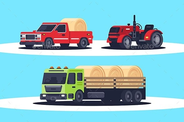 Flat Agricultural Machinery with Stack of Hay - Industries Business