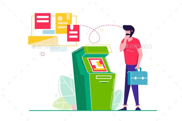 Young Man with Beard and Suitcase ATM Cash - Concepts Business