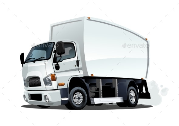 Cartoon Delivery or Cargo Truck Isolated on White - Man-made Objects Objects