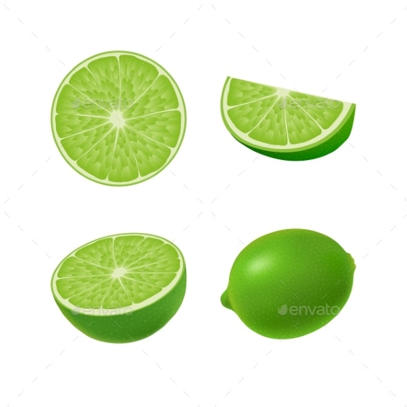 Set of Isolated Colored Green Lime - Food Objects