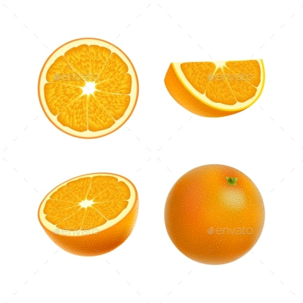 Set of Isolated Colored Orange - Food Objects
